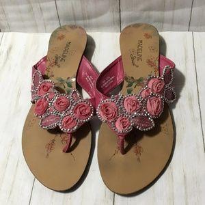 Madeline Stuart Pink Roses Sandals Sz 6.5M Womens